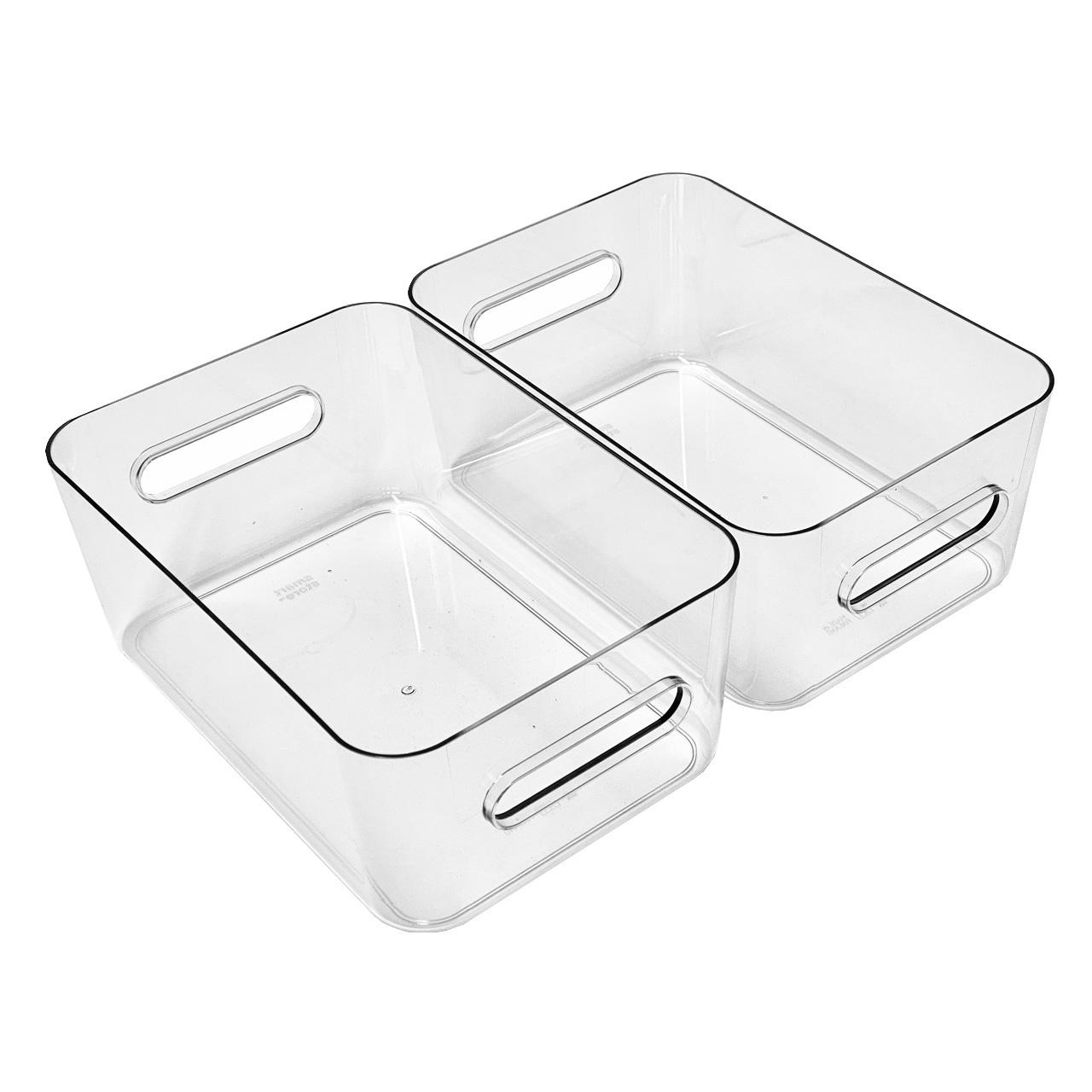 Kühlschrank Organizer Boxen-Set mit Beschriftungsetiketten (M-Boxen-2er-Set)