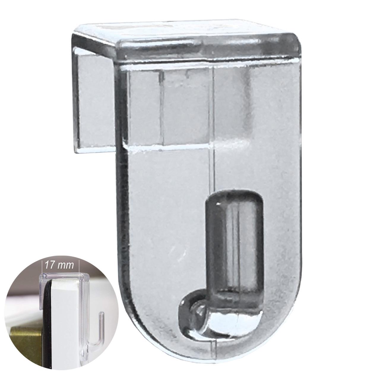 Fensterhaken, Dekohaken, transparent - 20er-Set, 35 x 20 mm - Für Fenster bis maximal 17mm Falzmaß geeignet