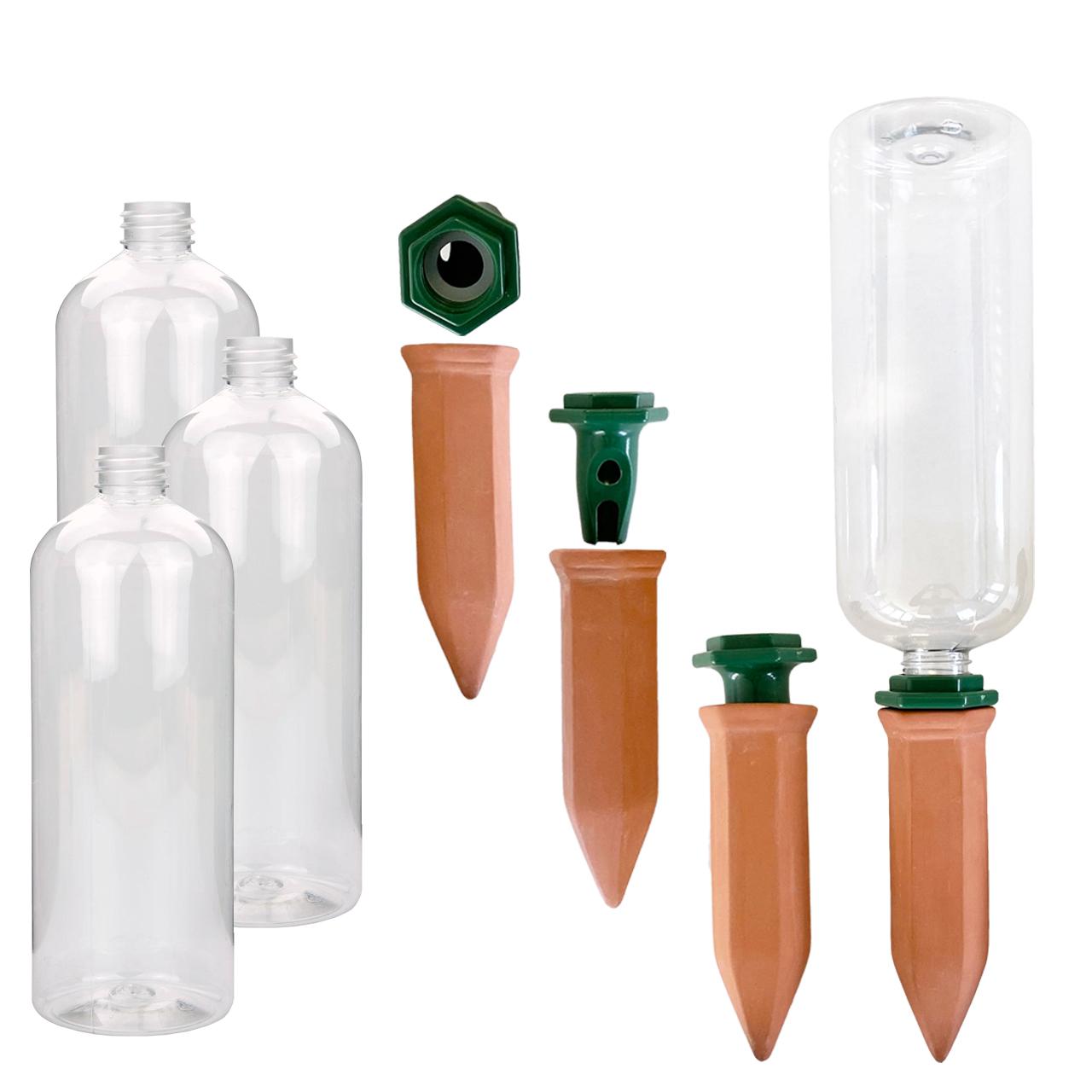 Wasserspender Tonkegel mit Adapter und PET Flaschen 750 ml Bewässerungsspikes - 4er SET