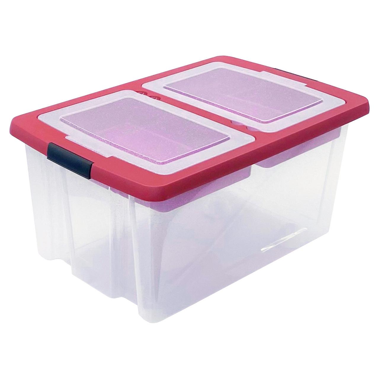 TOP-BOX Edition UNIVERSAL Aufbewahrungsbox mit Deckel 59x40x29 cm transparent-rot