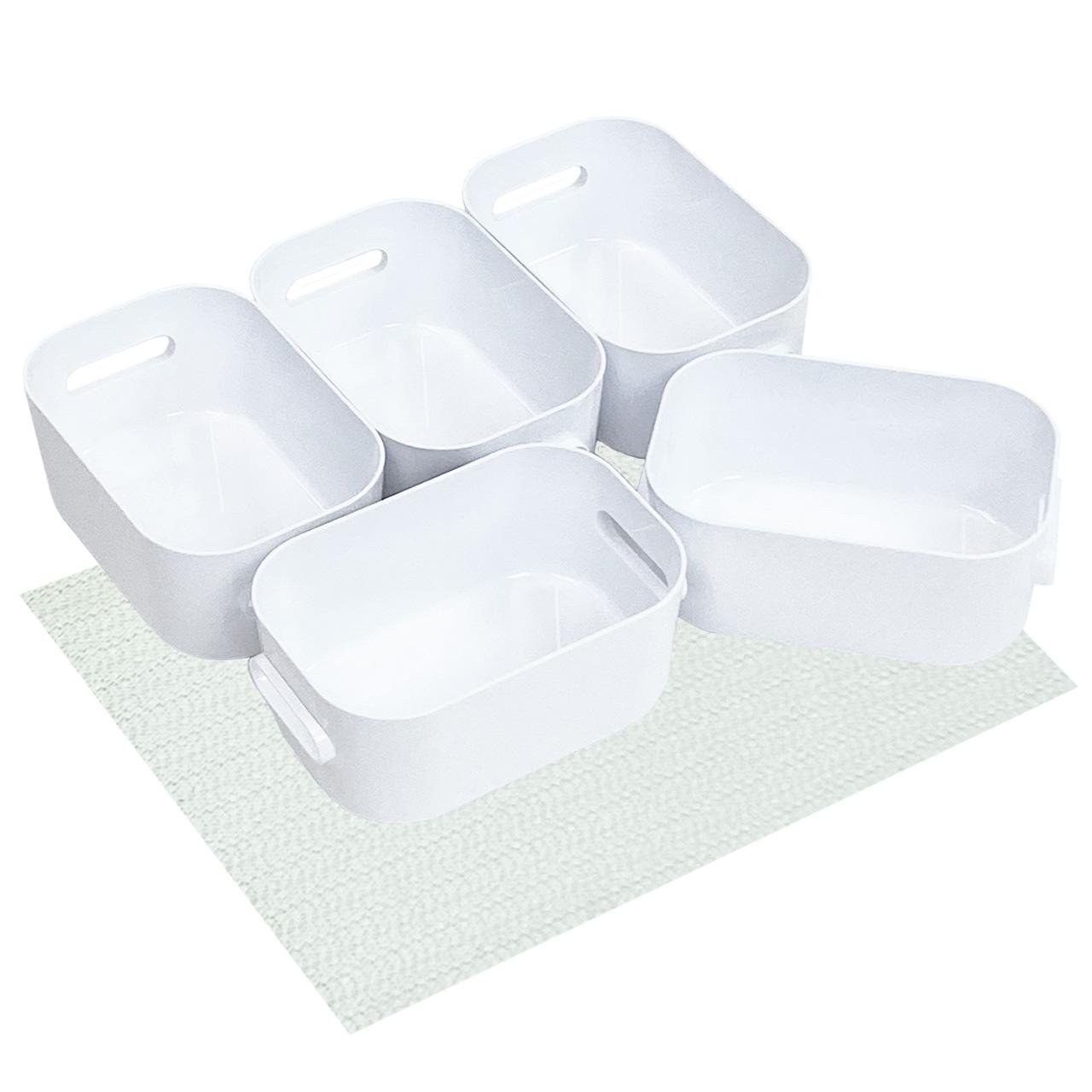 Boxen-Organizer-Set, weiss mit Antirutsch-Unterlage (XS-Boxen-5er-Set)