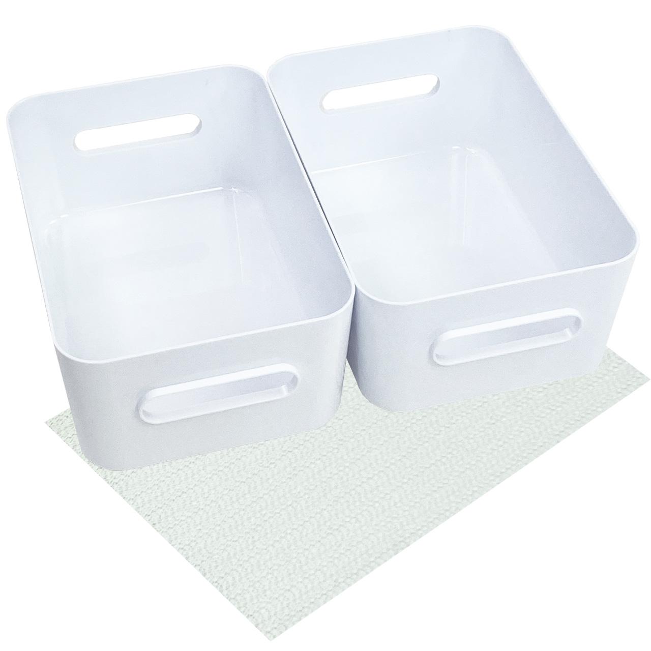 Boxen-Organizer-Set, weiss mit Antirutsch-Unterlage (M-Boxen-2er-Set)