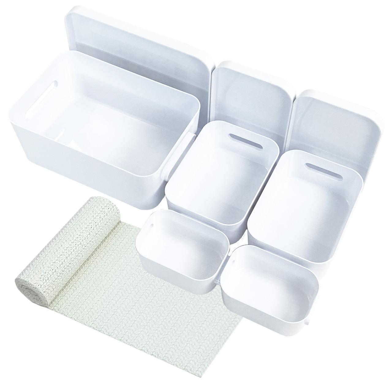 Boxen-Organizer-Set, Weiss mit Antirutsch-Unterlage (Mixed-8er-Set inkl. Deckel)